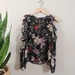 One Clothing Green Floral Top Open Shouder